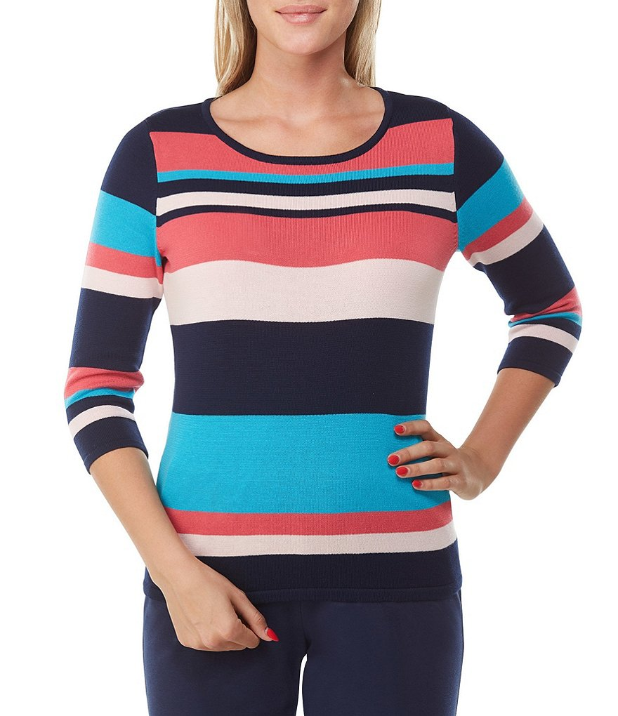 Allison Daley Petites 3/4 Sleeve Mixed Stripe Pullover Sweater
