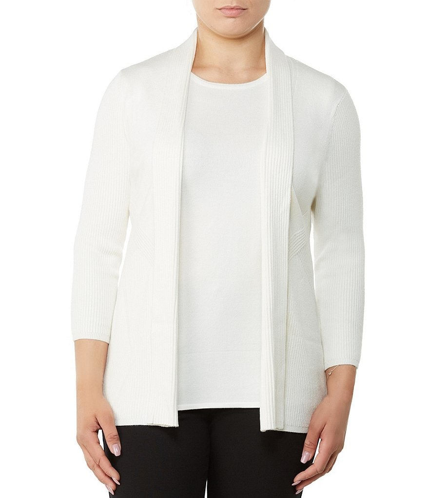 Allison Daley Petites 3/4 Sleeve Open Front Cardigan