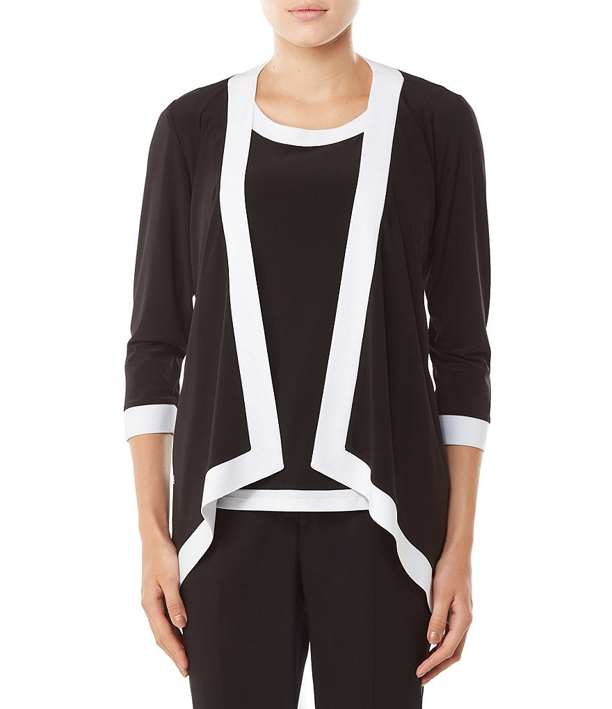 Allison Daley Petites 3/4 Sleeve Open Front Contrast Trim Cardigan