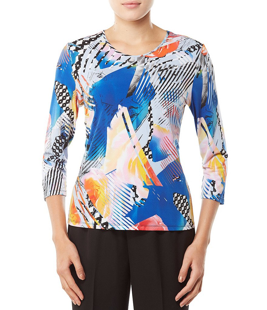 Allison Daley Petites 3/4 Sleeve Printed Crew-Neck Knit Top