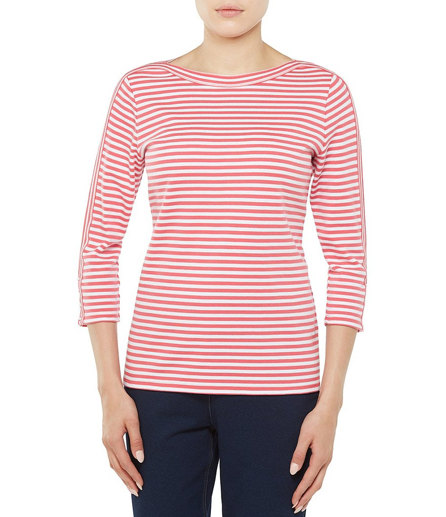 Allison Daley Petites 3/4 Sleeve Striped Knit Top