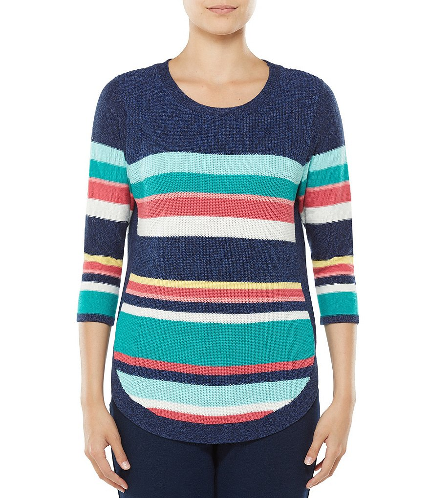 Allison Daley Petites 3/4 Sleeve Striped Rib Pullover Sweater