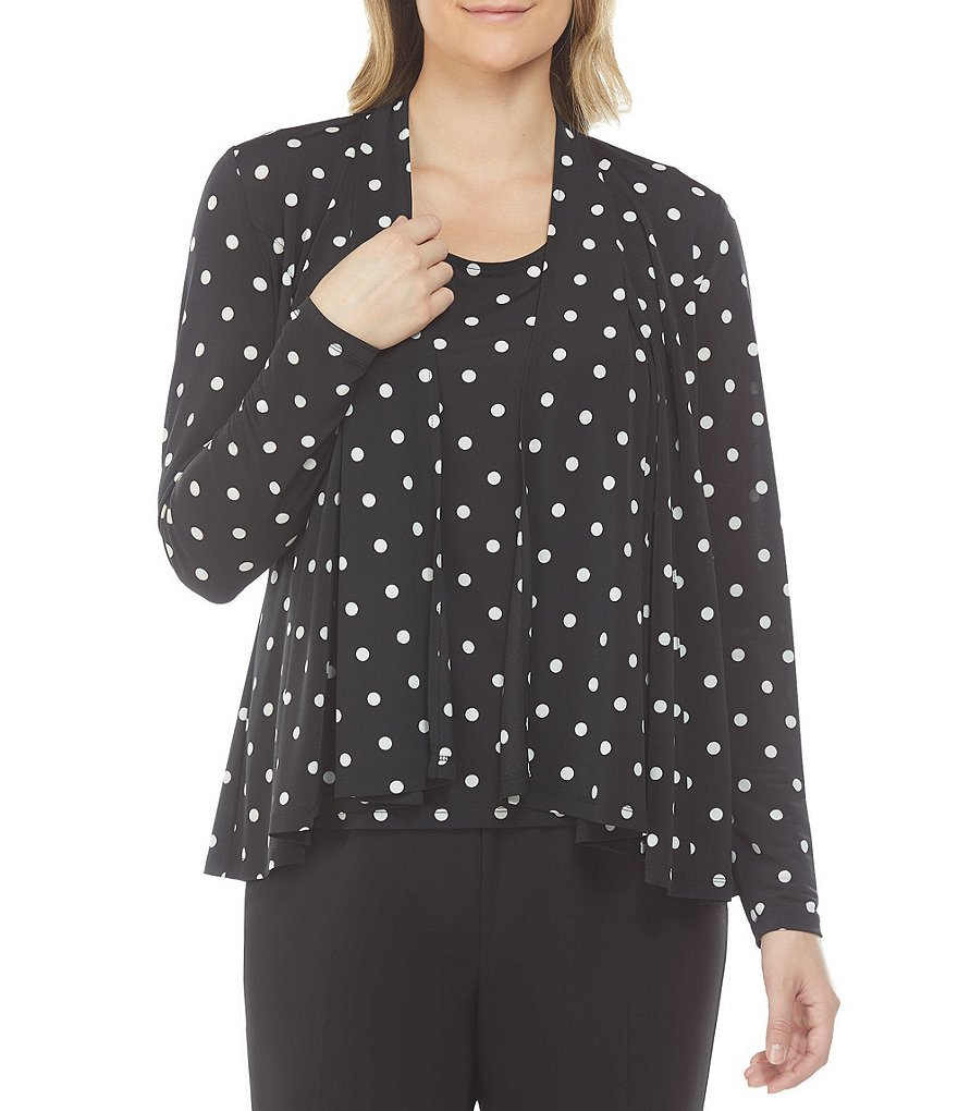 Allison Daley Petites Dot Print Open Front Cascade Cardigan