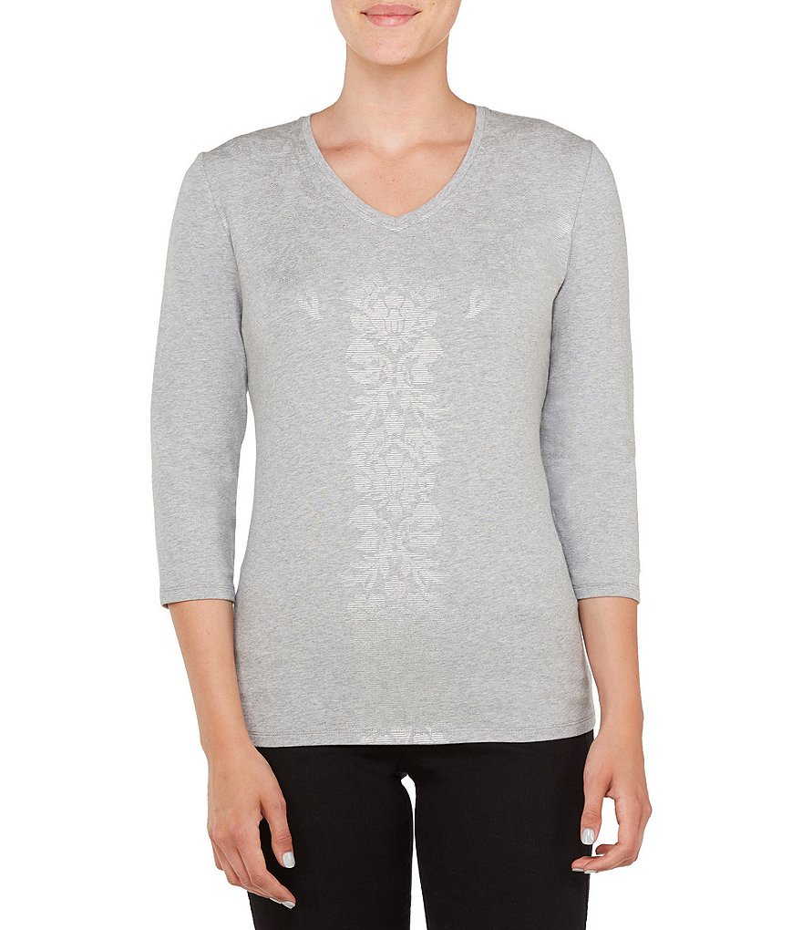 Allison Daley Petites Embellished V-Neck Foil Details Knit Top