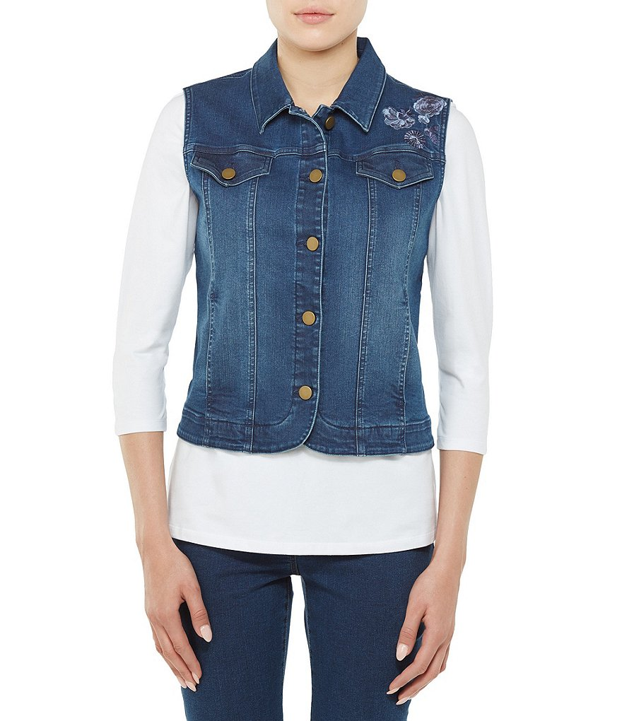 Allison Daley Petites Floral Embroidered Button Front Denim Vest