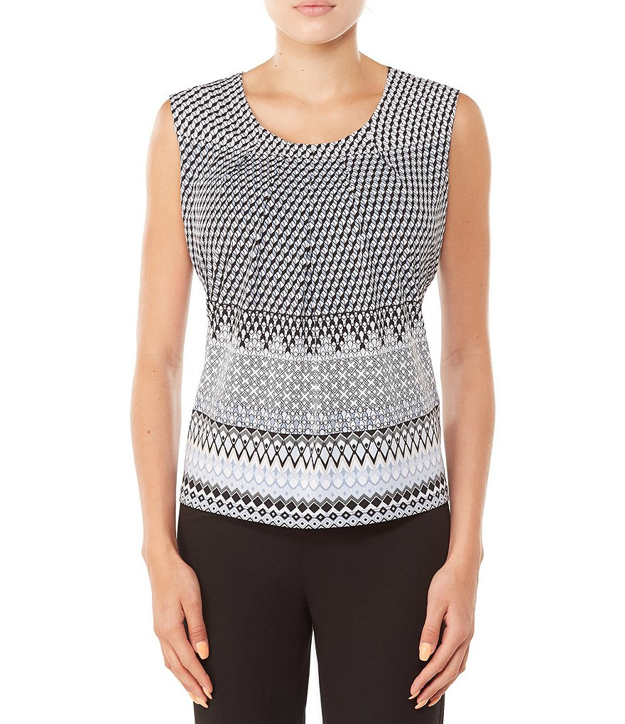 Allison Daley Petites Geo Print Sleeveless Pleated Top