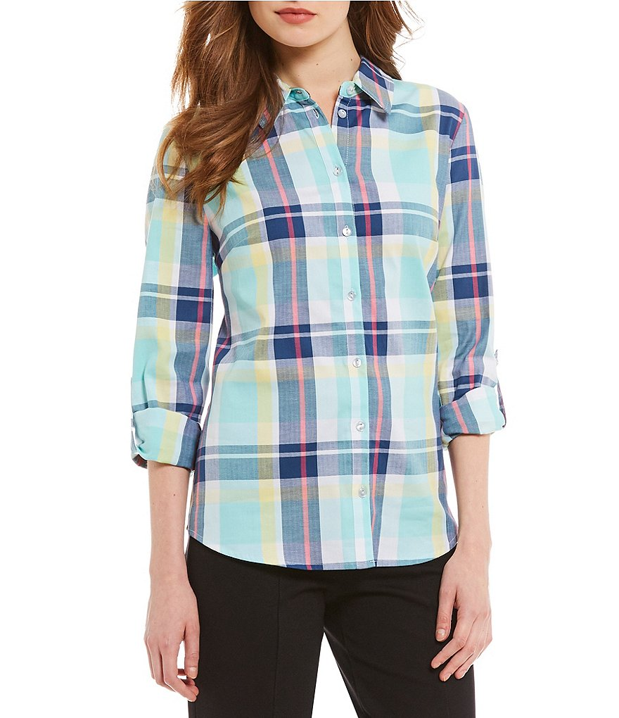 Allison Daley Petites Long Roll-Tab Sleeve Button Front Plaid Shirt