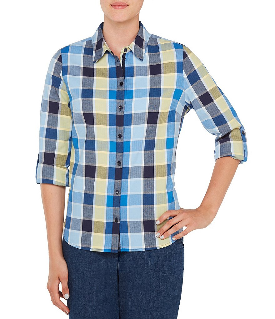 Allison Daley Petites Long Roll-Tab Sleeve Button Front Square Plaid Shirt