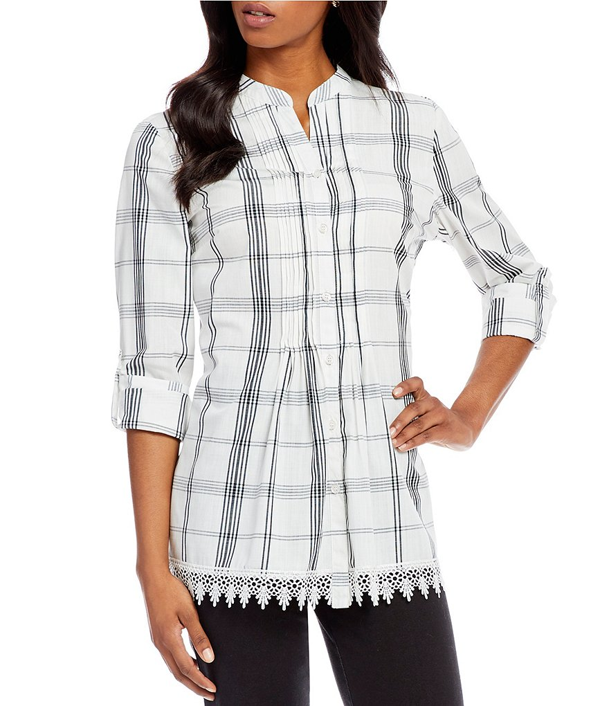 Allison Daley Petites Long Roll-Tab Sleeve Plaid Pintucked Button Front Shirt