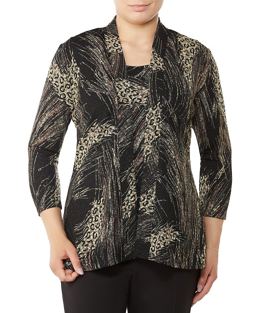 Allison Daley Petites Open Front Print Pucker Knit Cardigan