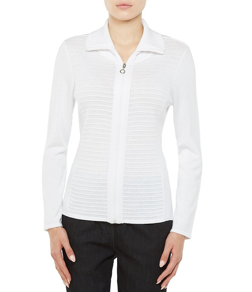 Allison Daley Petites Polo Collar Zip Front Textured Cardigan