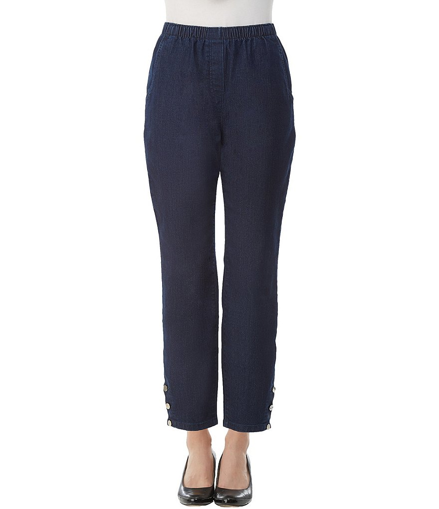 Allison Daley Petites Pull-On Button Detail Hem Ankle Leg Jeans