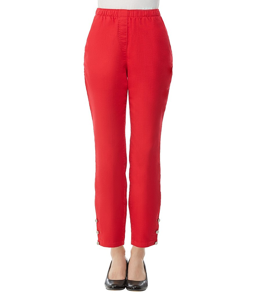 Allison Daley Petites Pull-On Button-Hem Ankle Pants