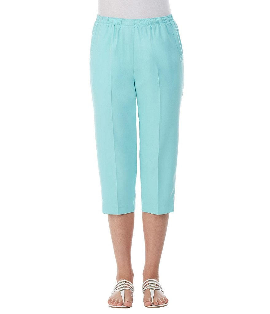 Allison Daley Petites Pull-On Solid Grommet Tab Hem Detail Capri Pants