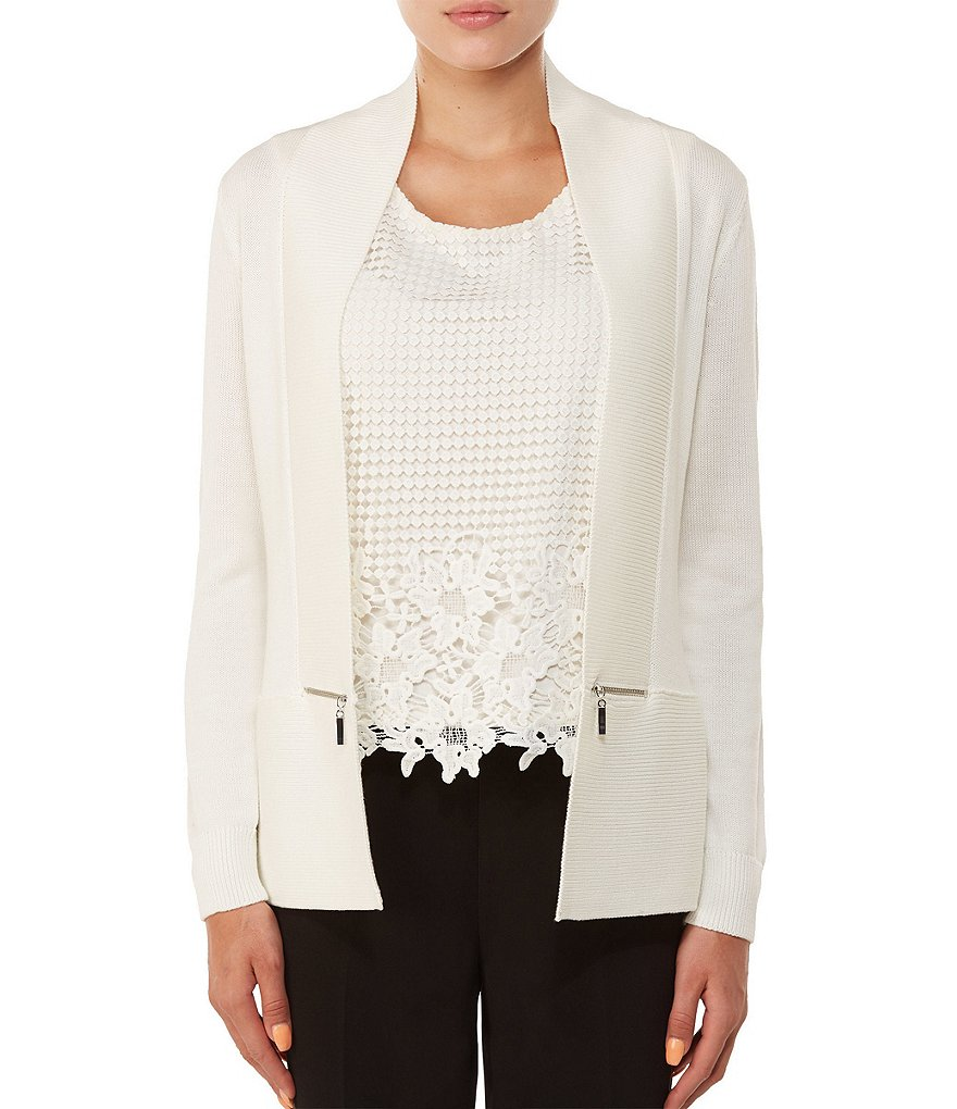Allison Daley Petites Rib-Trim Open Front Cardigan