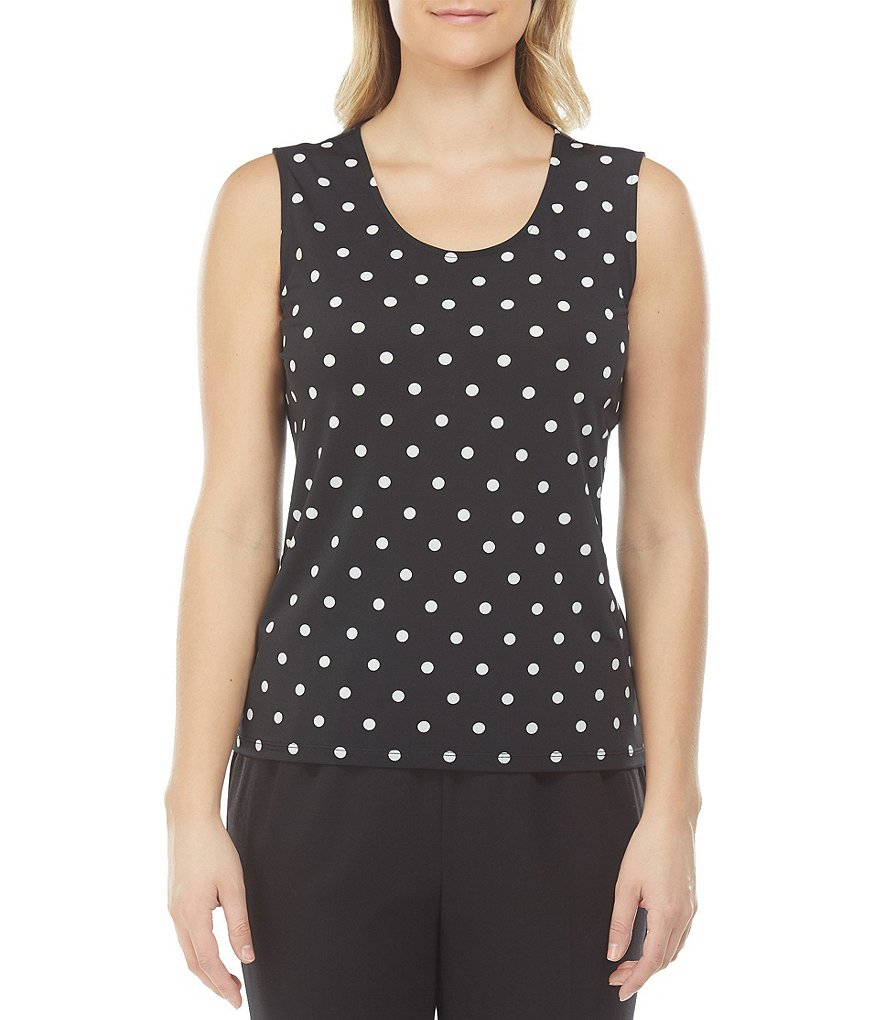Allison Daley Petites Scoop Neck Dot Print Tank