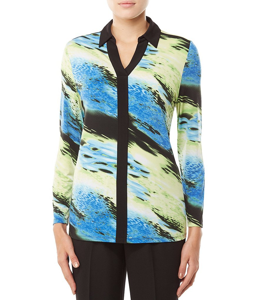 Allison Daley Petites Y-Neck Contrast Trim Abstract Print Blouse