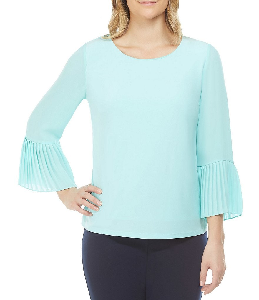 Allison Daley Pleated Cuff Bell Sleeve Solid Top