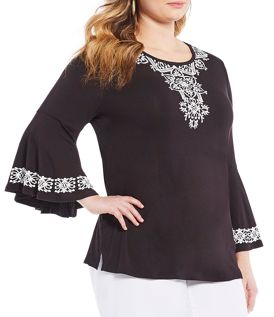 Allison Daley Plus 3/4 Bell Sleeve Embroidered Solid Knit Top