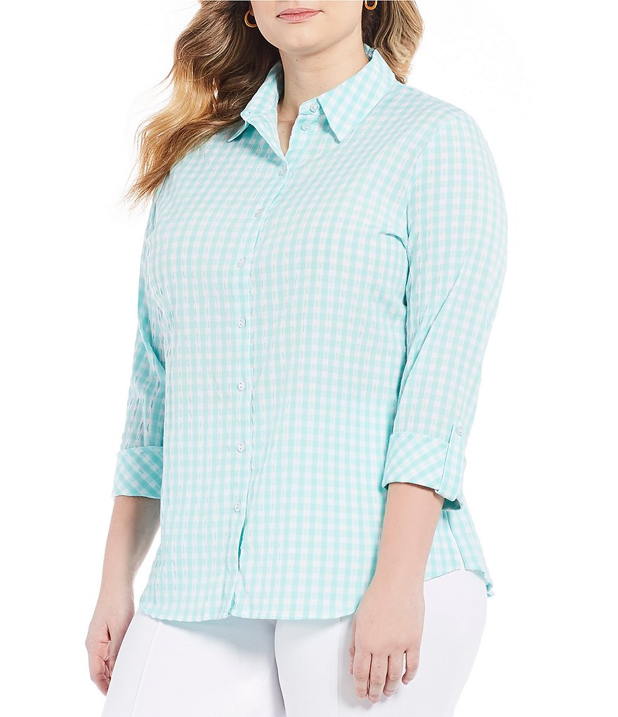 Allison Daley Plus 3/4 Roll-Tab Sleeve Crinkled Gingham Button-Front Shirt