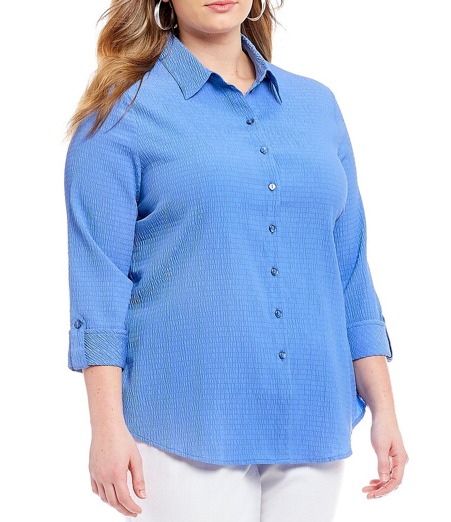 Allison Daley Plus 3/4 Roll-Tab Sleeve Pucker Weave Button Front Shirt