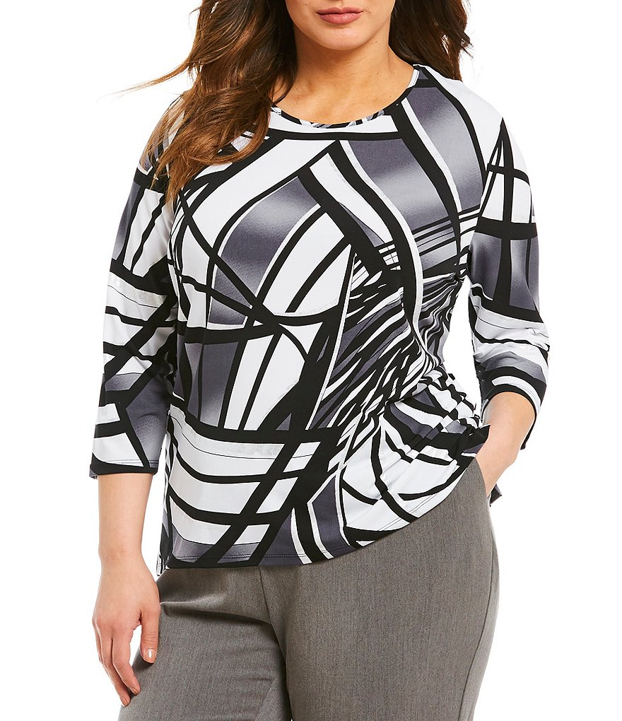 Allison Daley Plus 3/4 Sleeve Print Knit Top
