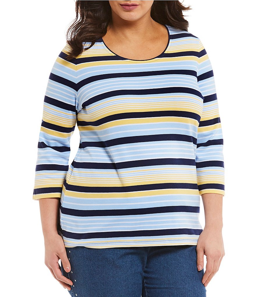 Allison Daley Plus 3/4 Sleeve Stripe Knit Top