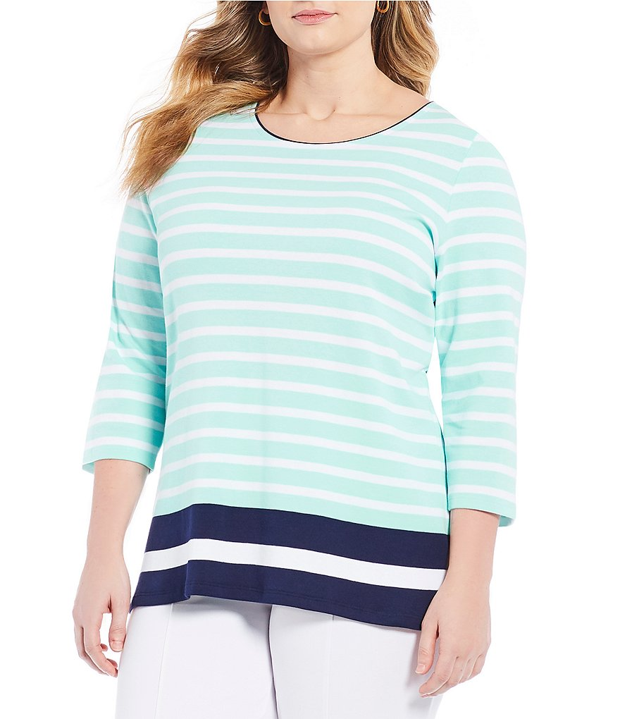 Allison Daley Plus 3/4 Sleeve Stripe Tee