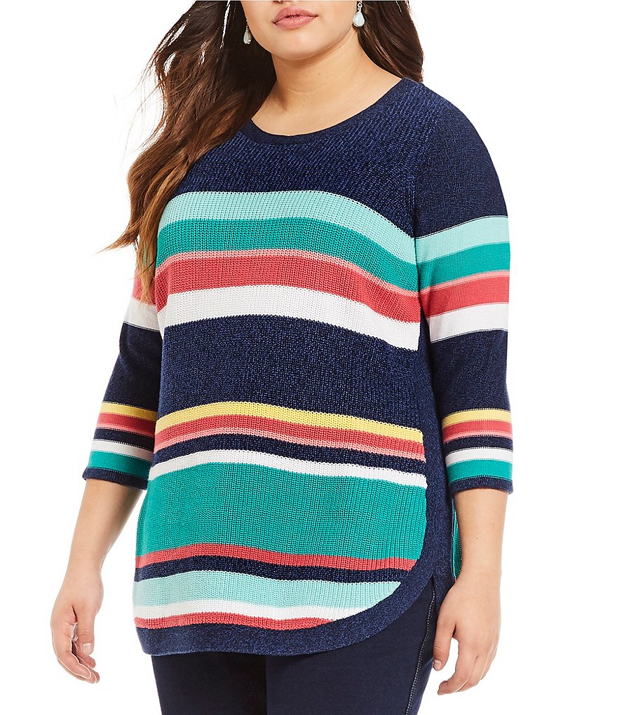 Allison Daley Plus 3/4 Sleeve Striped Rib Pullover Sweater