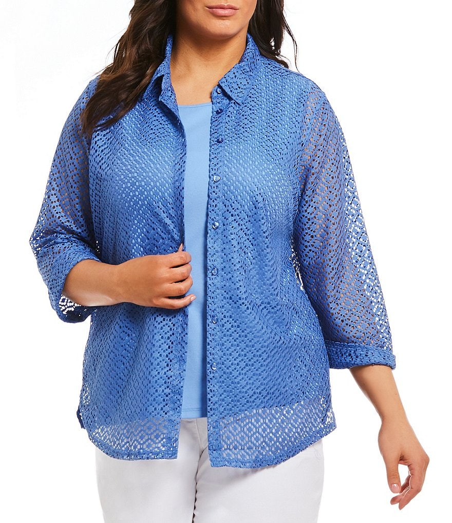 Allison Daley Plus Circle Lace Knit Button Front Shirt