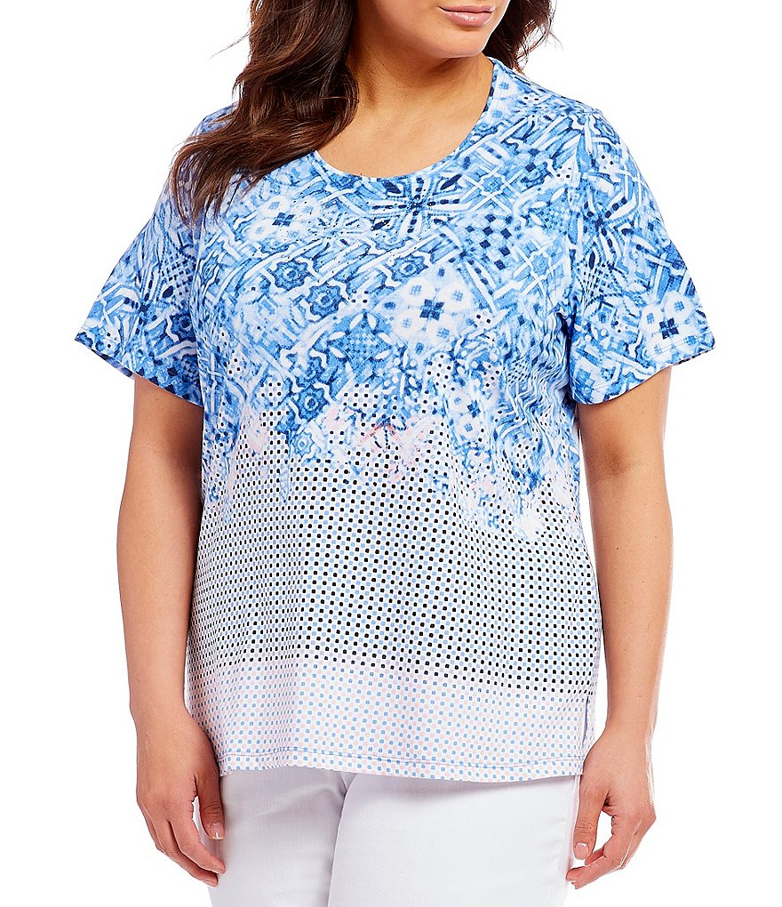 Allison Daley Plus Embellished Detail Crew Neck Printed Tee