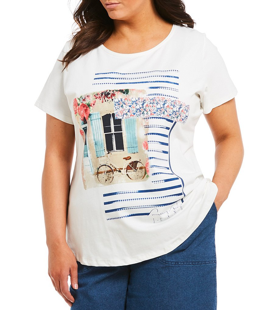 Allison Daley Plus Embellished Detail Photo Print Crew Neck Tee
