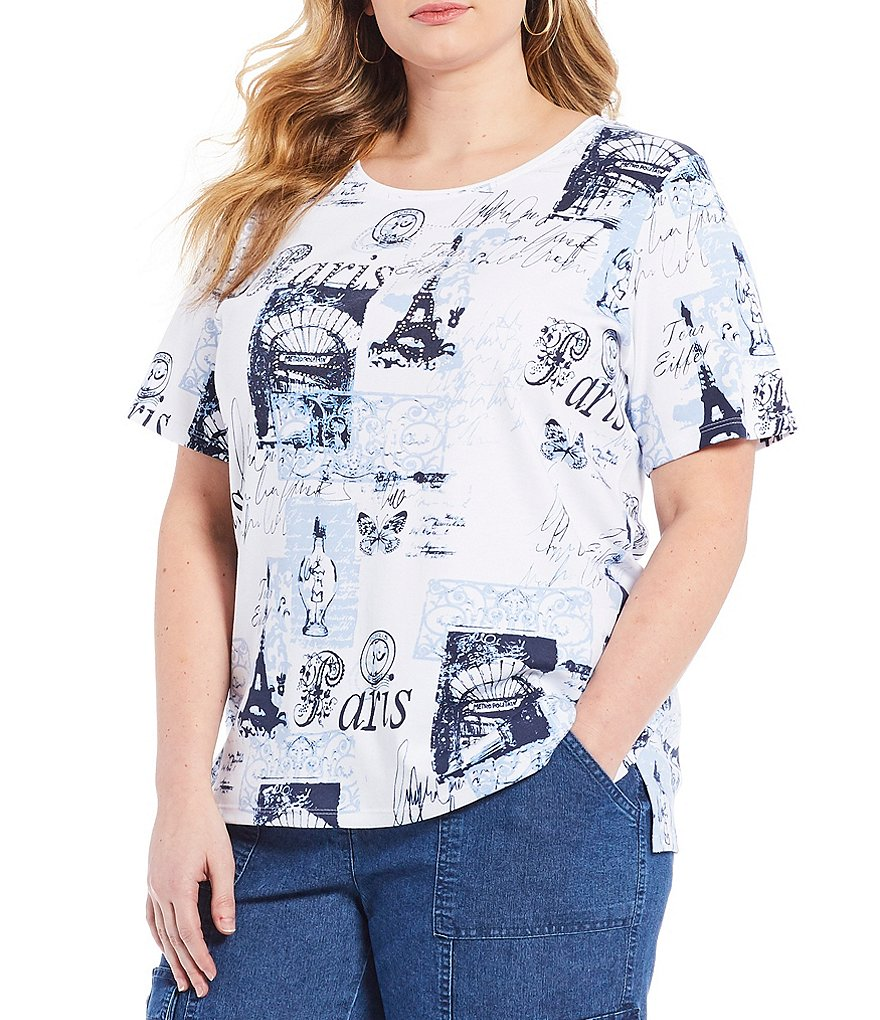 Allison Daley Plus Embellished Short Sleeve Paris Print Tee