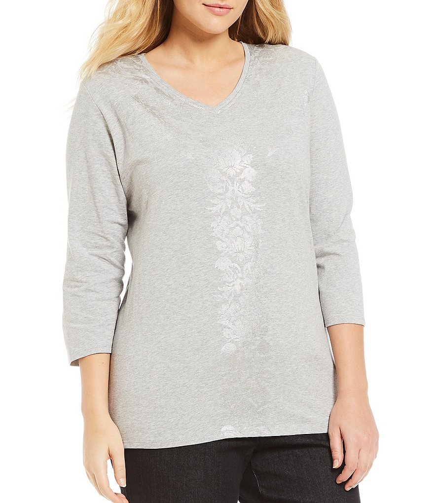 Allison Daley Plus Embellished V-Neck Foil Details Knit Top