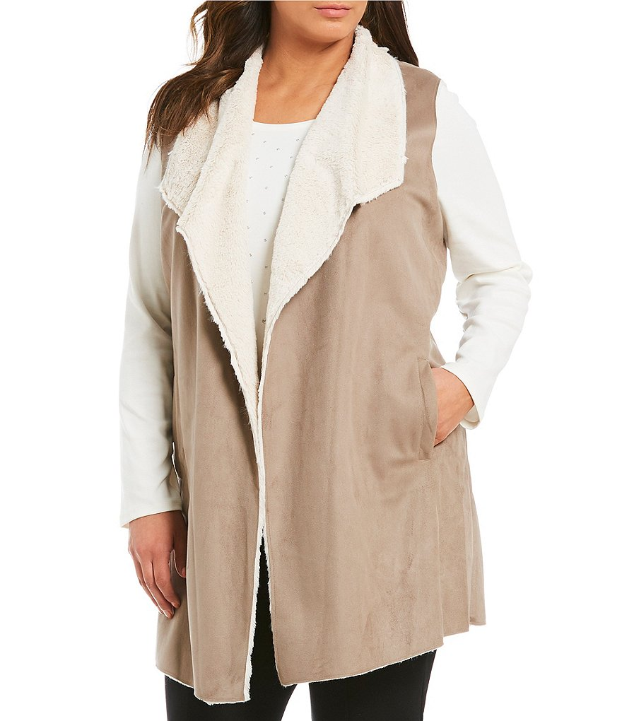 Allison Daley Plus Faux Shearling & Faux Suede Vest