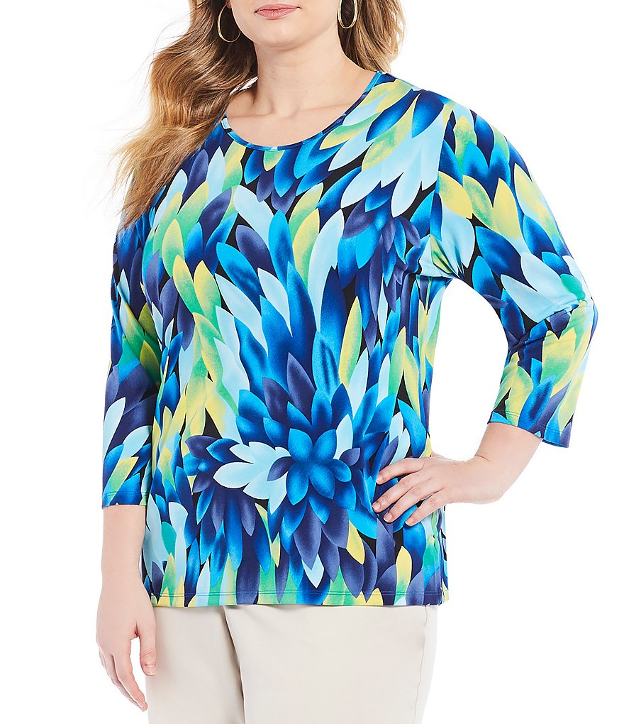 Allison Daley Plus Feather Floral Print 3/4 Sleeve Tee