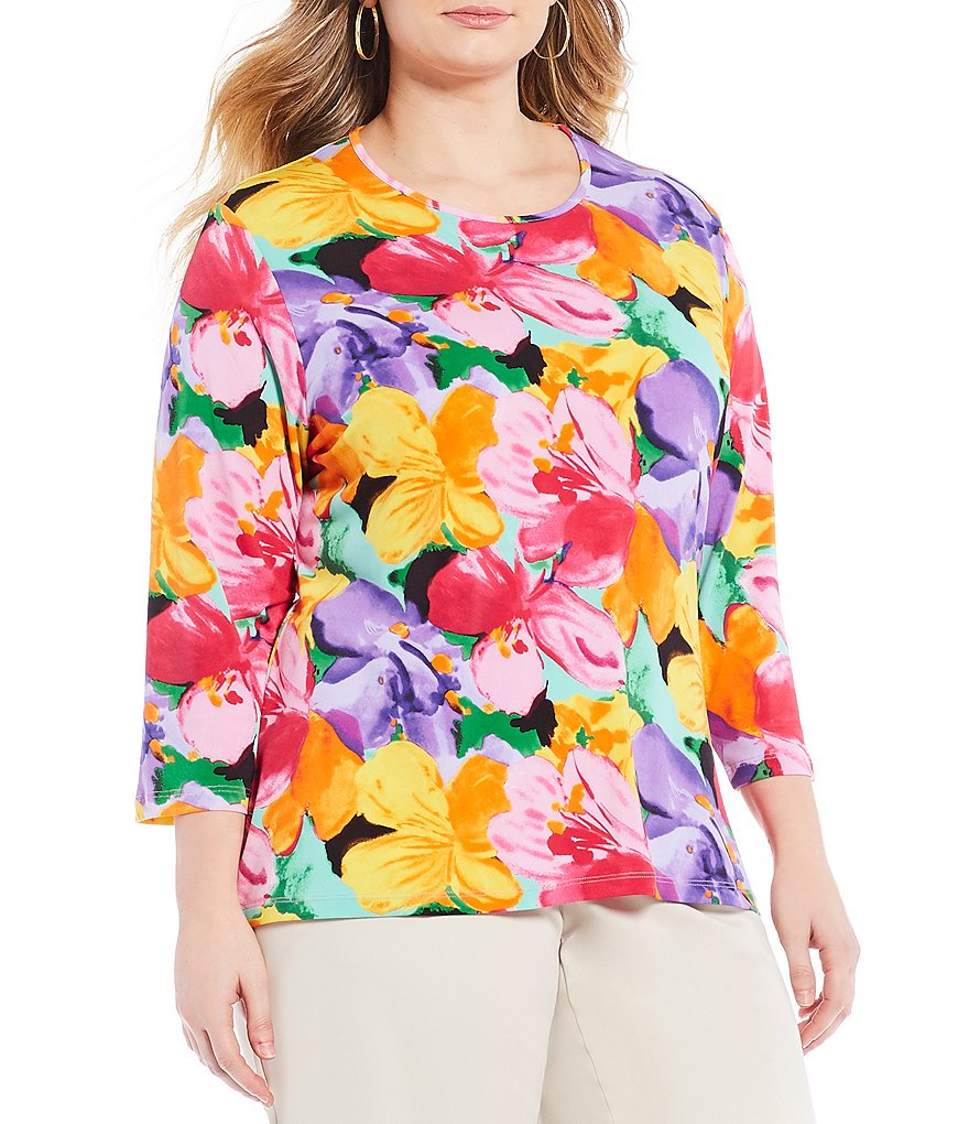 Allison Daley Plus Floral Print 3/4 Sleeve Tee