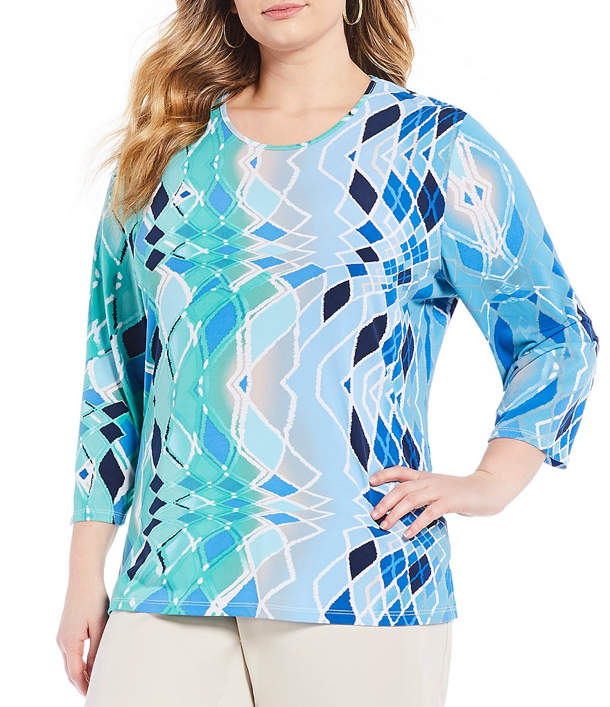 Allison Daley Plus Geo Print 3/4 Sleeve Tee