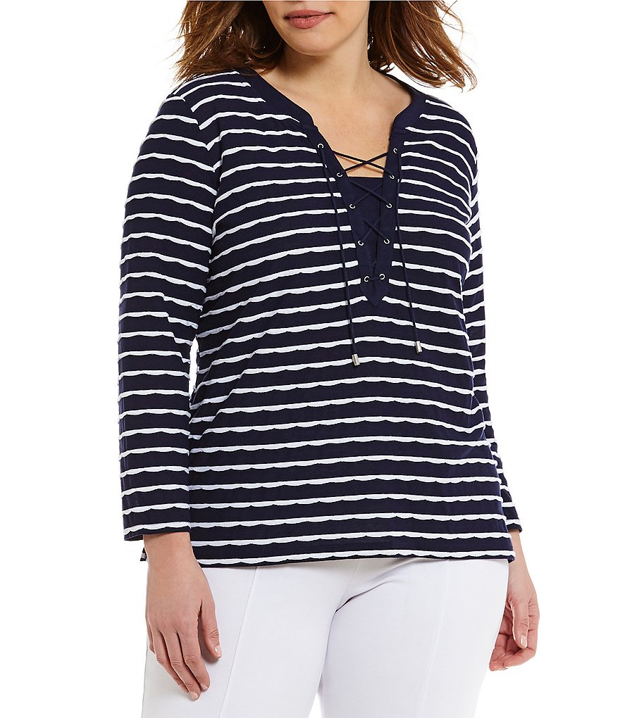 Allison Daley Plus Lace-Up Front Mini Pucker Stripe Knit Top