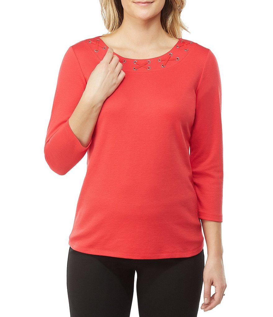 Allison Daley Plus Lace-Up Grommet Embellished Wide Crew-Neck Solid Knit top