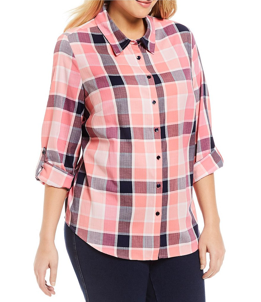 Allison Daley Plus Long Roll-Tab Sleeve Plaid Button Front Shirt
