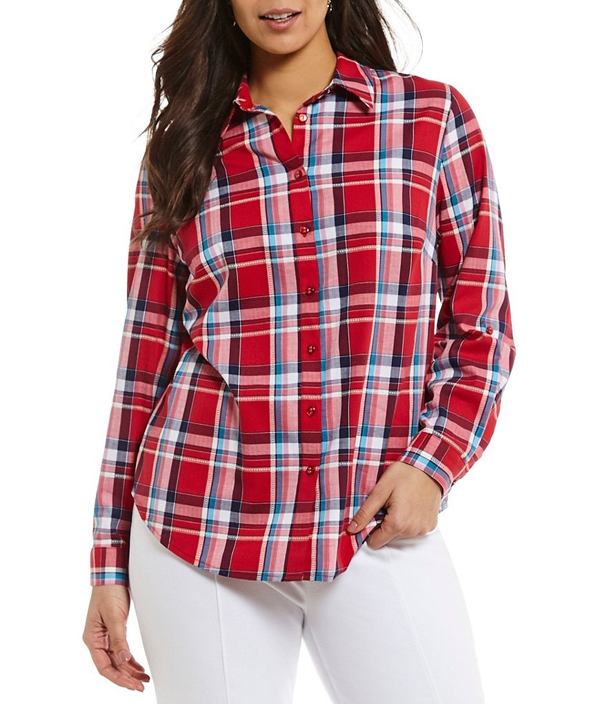 Allison Daley Plus Long Roll-Tab Sleeve Plaid Print Button-Front Shirt