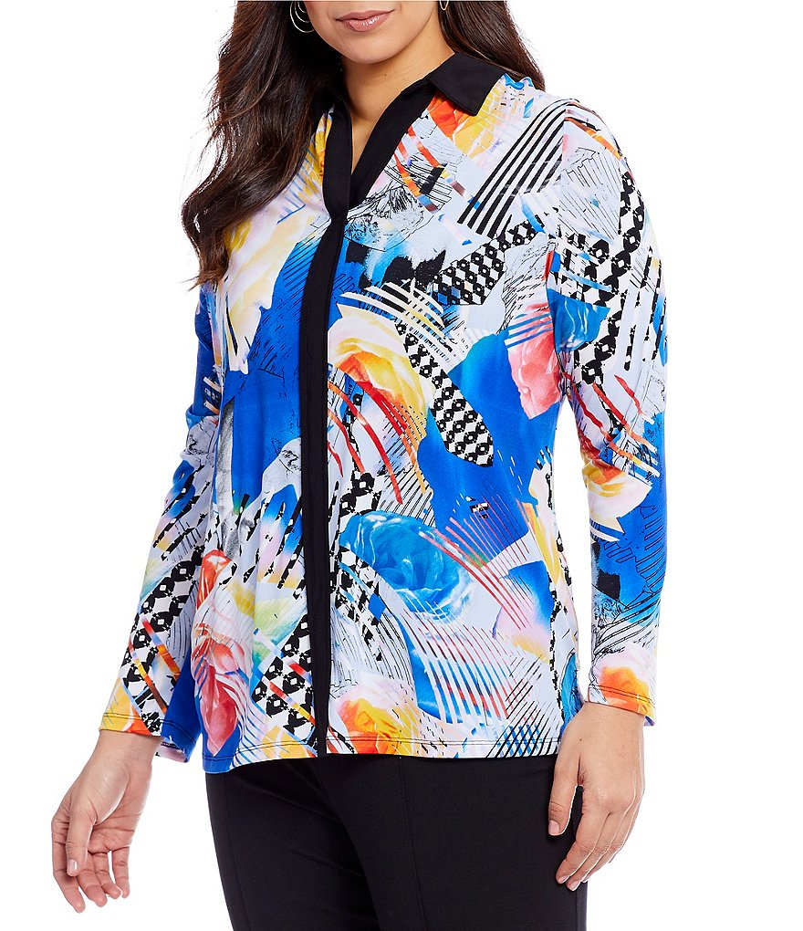 Allison Daley Plus Long Sleeve Contrast Trim Print Blouse