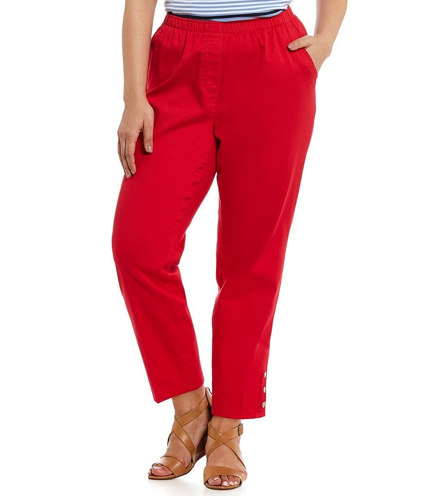 Allison Daley Plus Pull-On Ankle Button-Hem Pants