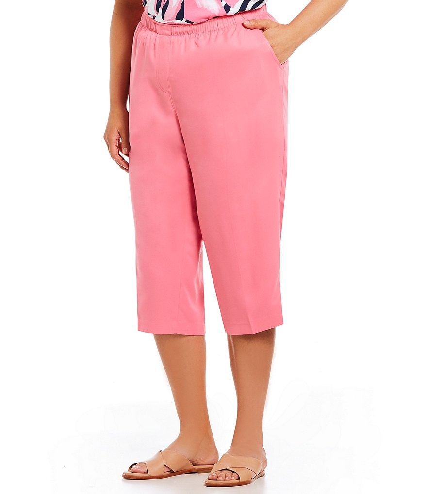 Allison Daley Plus Pull-On Solid Grommet Tab Hem Capri Pants