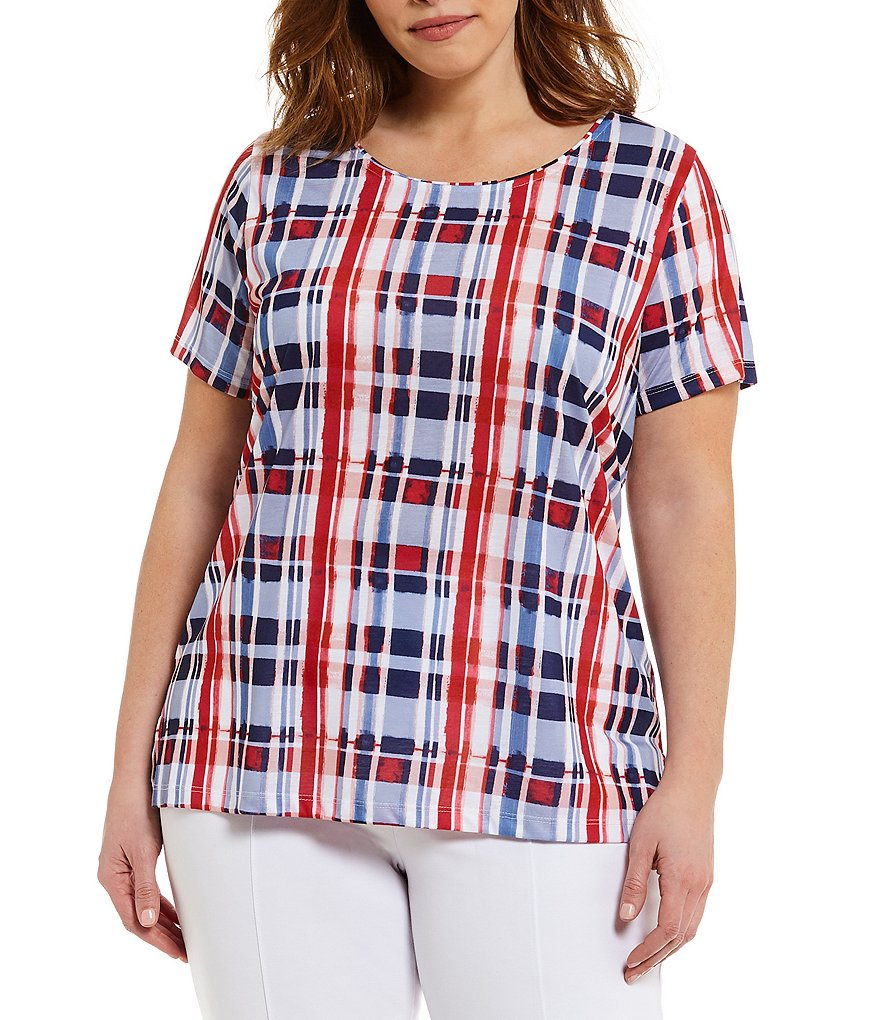 Allison Daley Plus Short Sleeve Watercolor Plaid Knit Top