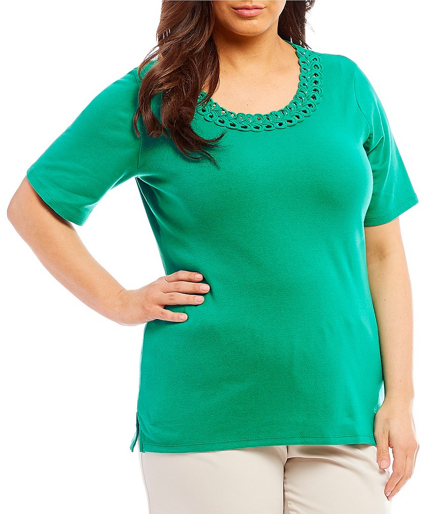 Allison Daley Plus Size Embellished Ribbon Trim Crew Neck Solid Tee