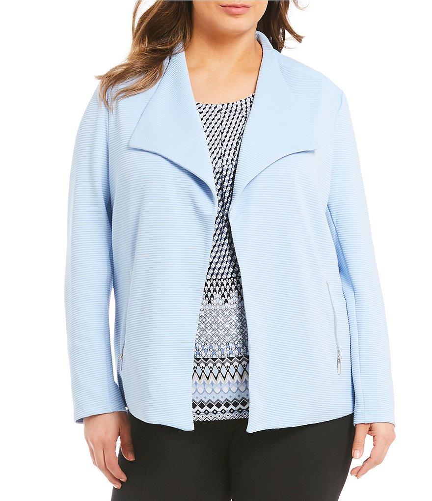 Allison Daley Plus Wing Collar Open Front Jacket