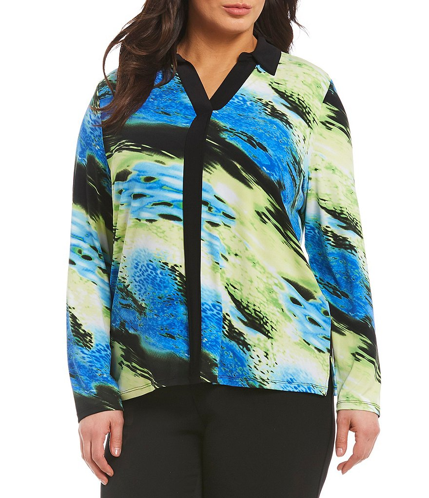 Allison Daley Plus Y-Neck Contrast Trim Abstract Print Blouse