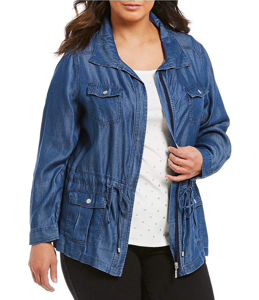 Allison Daley Plus Zip Front Lyocell Denim Anorak Jacket